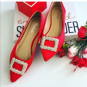 Shoes - Boutique crystal buckle satin flats pointy toe